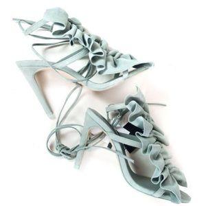 Zara ruffled leather high heel sandals
